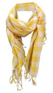 Halstuch in gelb weiß kariert mit Fransen - Gr. 100 x 100 cm - Schal