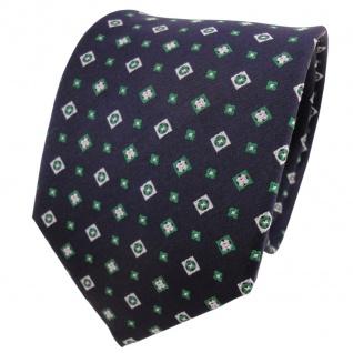TigerTie Designer Seidenkrawatte blau grün silber gemustert - Krawatte Seide