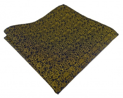 TigerTie Designer Einstecktuch in gelbgold schwarz florales Muster