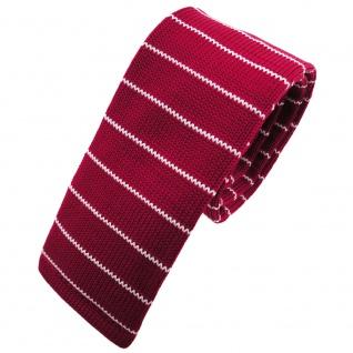 Schmale Strickkrawatte rot dunkelrot weiß silber gestreift - Krawatte Polyester