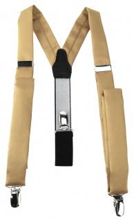 schmaler TigerTie Unisex Hosenträger mit 3 extra starken Clips - in hellgold Uni