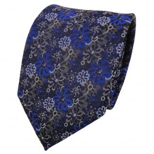 Designer Krawatte blau marine dunkelblau grau gemustert - Schlips Binder Tie