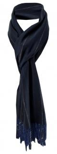 Feiner TigerTie Designer Schal in marine blau anthrazit gestreift - Cashmink