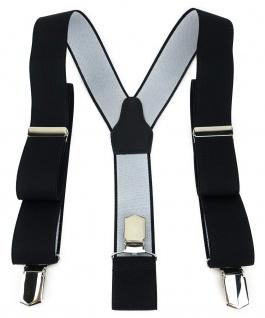 TigerTie Unisex Hosenträger mit 3 extra starken Clips - schwarz Uni