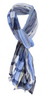 Schal in blau dunkelblau grau schwarz beige längskariert - Gr. 180x50 cm - Tuch