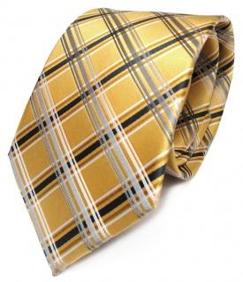 TigerTie Designer Krawatte gold silber grau anthrazit kariert reine Seide / Silk