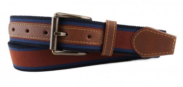 TigerTie - Stretchgürtel braun blau dunkelblau gestreift - Bundweite 120 cm