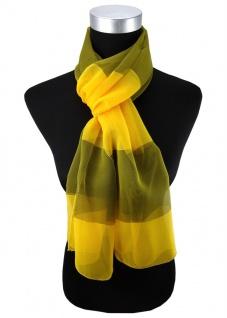 Damen Chiffon Halstuch gelb oliv gold gestreift Gr. 165 cm x 40 cm - Tuch Schal