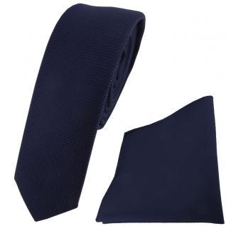 schmale TigerTie Krawatte + Einstecktuch in marine dunkelblau fein gepunktet