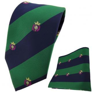 TigerTie Designer Krawatte + Einstecktuch grün dunkelblau gestreift mit Wappen