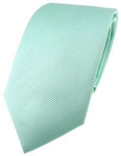 TigerTie Designer Krawatte in mint grün einfarbig Uni Rips