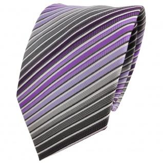 Designer Krawatte lila anthrazit grau silber schwarz gestreift - Binder Tie