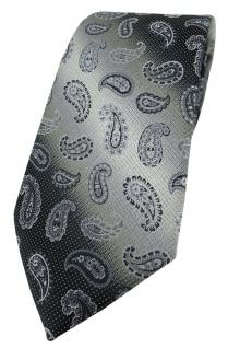TigerTie Designer Krawatte in grau anthrazit grausilber Paisley gemustert