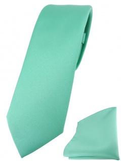 schmale TigerTie Designer Krawatte + Einstecktuch in grün mint einfarbig uni
