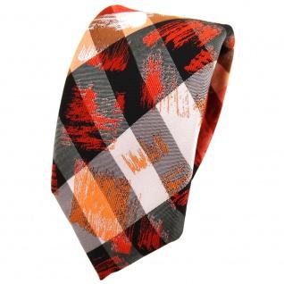 Schmale TigerTie Krawatte in orange grau silber schwarz gestreift - Schlips Binder