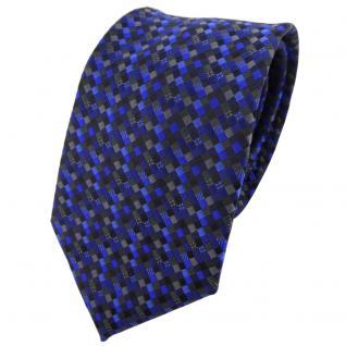 TigerTie Krawatte blau dunkelblau schwarz anthrazit grau gemustert - Binder Tie