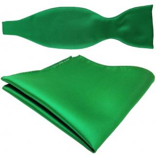 TigerTie Satin Selbstbinder Fliege + Einstecktuch grün leuchtgrün Uni Einfarbig