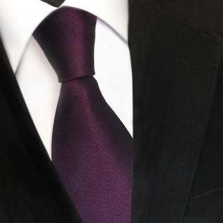 TigerTie Designer Satin Seidenkrawatte lila dunkellila Uni - Krawatte Seide Silk