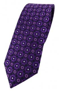 schmale TigerTie Designer Krawatte dunkelviolett rosa silber schwarz gemustert