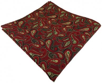 TigerTie Einstecktuch in rot gold grün schwarz Paisley gemustert - Stecktuch