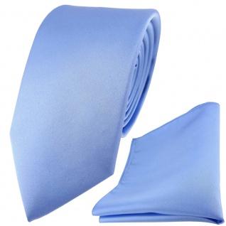 Modische TigerTie Satin Seidenkrawatte + Seideneinstecktuch in blau einfarbig