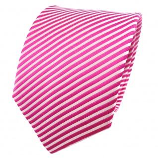 TigerTie Seidenkrawatte pink telemagenta silber weiß gestreift - Krawatte Seide