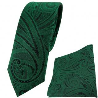 schmale TigerTie Seidenkrawatte + Einstecktuch grün smaragdgrün schwarz Paisley