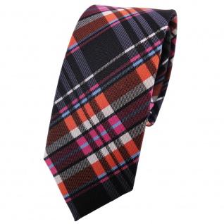 Schmale TigerTie Krawatte orange rosa anthrazit silber blau kariert - 100% Seide