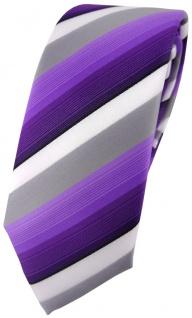 schmale TigerTie Designer Krawatte in lila violett grau weiss gestreift