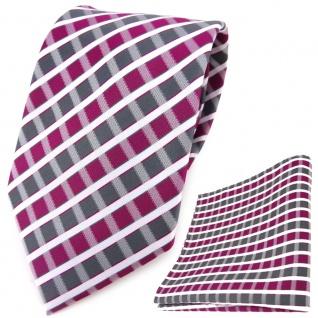 TigerTie Designer Krawatte + Einstecktuch magenta grau silber weiss gestreift