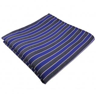 TigerTie Einstecktuch in blau grau blaugrau silber gestreift - 100% Polyester