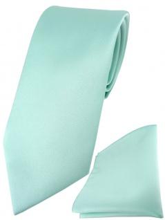TigerTie Designer Krawatte + TigerTie Einstecktuch in mint grün einfarbig uni
