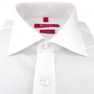 Ben Green Herrenhemd weiß Uni langarm bügelfrei - New-Kent-Kragen Hemd Gr.45 - Vorschau 2