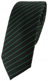 schmale TigerTie Designer Krawatte in grün schwarz gestreift - Schlips Binder