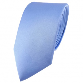 Modische TigerTie Satin Seidenkrawatte in blau einfarbig - Krawatte 100% Seide