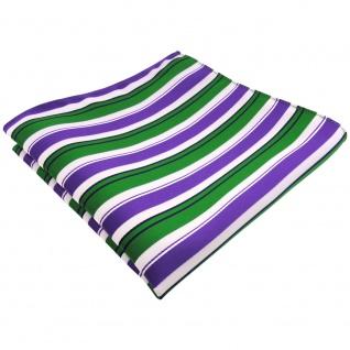 schönes Einstecktuch in lila grün schwarz weiß gestreift - Tuch 100% Polyester