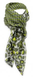 TigerTie Halstuch in olive gelb grau gemustert und gepunktet - Gr. 100 x 100 cm