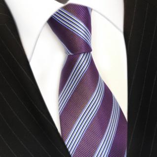Elegante Krawatte - Schlips Binder lila blau schwarz weiss gestreift - Tie - Vorschau 3