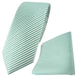 schmale TigerTie Seidenkrawatte + Einstecktuch in mint grün weiß gestreift
