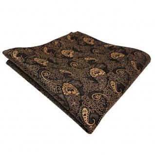 TigerTie Einstecktuch gold bronze schwarz Paisley - Tuch Polyester
