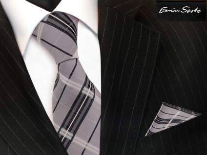Enrico Sarto Seidenkrawatte & Einstecktuch grau anthrazit silber kariert