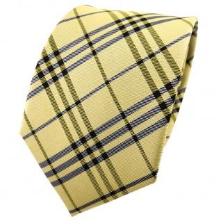 TigerTie Seidenkrawatte gelb grüngelb anthrazit kariert - Krawatte Seide Tie