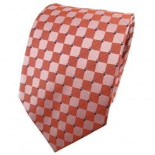 TigerTie Seidenkrawatte orange silber blau kariert - Krawatte 100% Seide