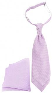 TigerTie Plastron Pique 2tlg Krawatte + Einstecktuch in flieder gemustert