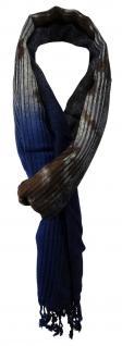 TigerTie Designer Schal dunkelbraun marine grau anthrazit Paisley - 180 x 50 cm