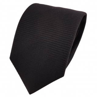 TigerTie Designer Seidenkrawatte schwarz uni Rips - Krawatte Seide Silk Tie