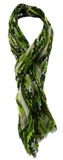 TigerTie Designer Schal in grün dunkelgrün grau braun gelb gemustert
