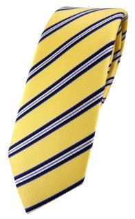 schmale TigerTie Designer Seidenkrawatte in gelb blau schwarz weiß gestreift