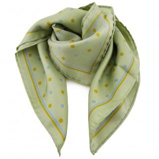 Damen Nickituch in Seide grün gelb blau gepunktet 53 x 53- Tuch Halstuch Schal