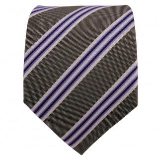 Designer Krawatte lila violett grau weiß gestreift - Schlips Binder Tie - Vorschau 2